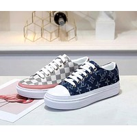 LV Tide brand classic Damier Azur canvas women's wild casual shoes