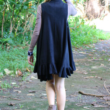 Ruffled Sweater Vest in Black