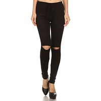 Casual Solid Fitted Full Length Elastic Waist Ripped Knee Leggings