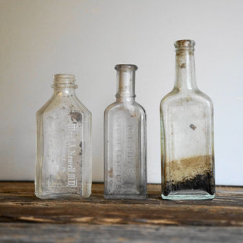 Antique Apothecary Glass Bottles - Set Of 3 - Unusual And Rare