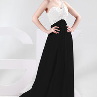 One Shoulder Sequins Embellished Empire Waist Maxi Dress