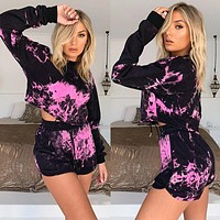2020 new arrival women's sexy long sleeve drawstring shorts casual two-piece suit