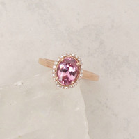 Raspberry Pink Spinel 14k Rose Gold Diamond Halo Engagement Ring Wedding Anniversary Sapphire Alternative