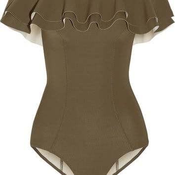 Lisa Marie Fernandez - Mira off-the-shoulder ruffled bonded swimsuit