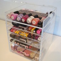 ACRYLIC MAKEUP COSMETICS ORGANIZER 5 DRAWER PLUS 1 LID BEAUTY CUBE STORAGE (Acrylic knobs (handles))
