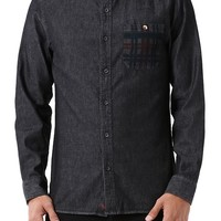 Modern Amusement Printed Long Sleeve Denim Shirt - Mens Shirt - Black