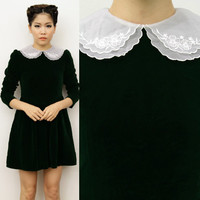 Vintage Alexa Green Velvet Scallop Embroidered PETER PAN COLLAR Doll Dress 8 10