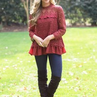 Dazzle Me Darling Top in Burgundy | Monday Dress Boutique