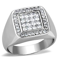 Mens Stainless Steel Rings TK1802 Stainless Steel Ring with AAA Grade CZ
