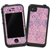 """Vintage Purple and Pink Damask """"Protective Decal Skin"""" for LifeProof 4/4S Case"""