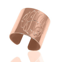 Pink Gold over STERLING SILVER MONOGRAM cuff ring with your choice of 1-3 initials  (Cuff ring-gpss)