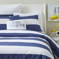 Mod Stripe Duvet Cover + Shams - White/Dusty Navy
