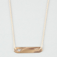 Full Tilt Heart Cutout Id Tag Necklace Gold One Size For Women 24615962101