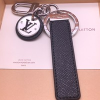 KUYOU Louis Vuitton black steel key ring LV