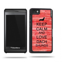 Keep Calm And Love Dachshunds Red Wood Blackberry Z10 Case - For Blackberry Z10
