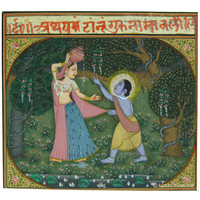 Little Krishna's Love For Butter Rajasthani Miniature Wall Art Painting on Old Paper