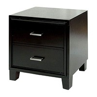 2 Drawer Contemporary Night Stand, Espresso Brown By Casagear Home