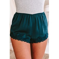 Slumber Party Lace Trimmed Satin Shorts (Forest)