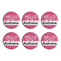 Autumn Hello My Name Is Plastic Resin Button Set of 6