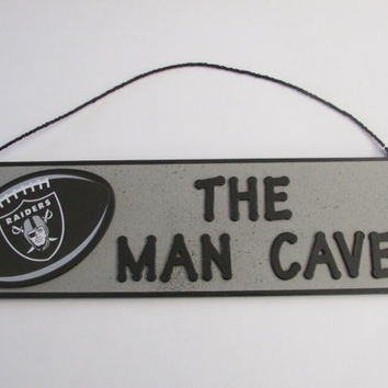 NFL Oakland Raiders Football - The Man Cave - Sign - Personalized Kids Room Decor