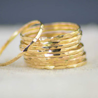 Super Thin 14k Gold Stackable Rings, 14k Gold Filled, Stack Rings, Stacking Rings, Simple Gold Ring, Hammered Gold Rings, Dainty Gold Ring