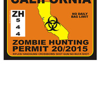 Zombie Hunting Permit CALIFORNIA by OBEY ZOMBIE