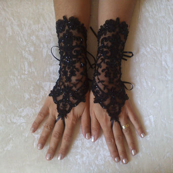 Black beaded lace gloves french lace bridal gloves lace wedding fingerless gothic gloves black burlesque vampire glove guantes