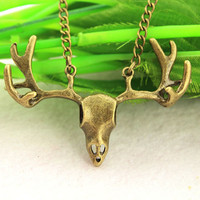 deer necklace--antique bronze charm necklace,alloy chain,birthday gift