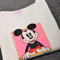 White Mickey Mouse Printed Tee