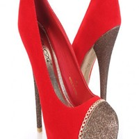 Red Faux Suede Glitter Toe Chained Heels @ Amiclubwear Heel Shoes online store sales:Stiletto Heel Shoes,High Heel Pumps,Womens High Heel Shoes,Prom Shoes,Summer Shoes,Spring Shoes,Spool Heel,Womens Dress Shoes,Prom Heels,Prom Pumps,High Heel Sandals,Chea