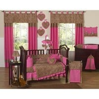 Sweet Jojo Designs Cheetah Animal print Pink and Brown Baby Girl Bedding 9pc Crib Set