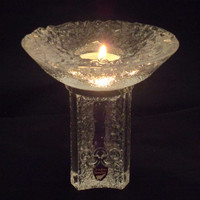 Orrefors Olympic Flame votive or candle holder 1984. Wonderful lead crystal piece by noted Swedish manufacturer. Goran Warff design