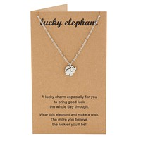 Misty Elephant Necklace with Good Luck Charm and Greeting Card