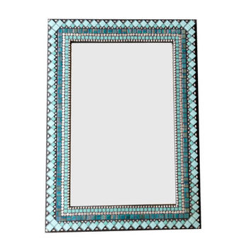 Turquoise Black Silver Mixed Media Mosaic Mirror  - READY TO SHIP