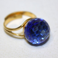 Vintage Ring Blue Crystal Faceted 1950s Jewelry by patwatty