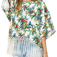 Green Tropical Print Tassel Hem Loose Fitting Crop Top