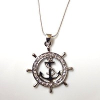 """DianaL Boutique Nautical Ship Wheel and Anchor Charm Pendant Necklace on 21"""" Chain Rhodium Plated Gift Boxed Fashion Jewelry"""