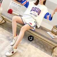 """Adidas"" Fashion Loose Casual Multicolor Letter Numeral Print Short Sleeve Shorts Set Two-Piece Sportswear"