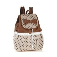 Phenas Girl's Cute Bowknot Leisure Canvas Backpack for Student School (Brown)