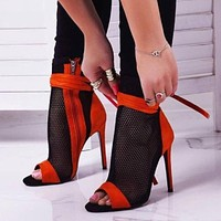 New Sexy Women's High Heels Peep-toe Sandals Stiletto Sandals Club Shoes Women's Party Boots And Sandals