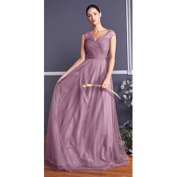 Orchid Illusion V-Neck and Back Long Bridesmaid Dress Sleeveless