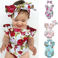 Cute Floral Romper 2pcs Baby Girls Clothes Jumpsuit Romper + Headband