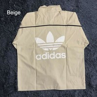 ADIDAS Clover limited edition retro tooling couple models versatile half zip jacket Beige