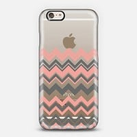 Coral Gray Chevron Transparent iPhone 6 case by Organic Saturation | Casetify