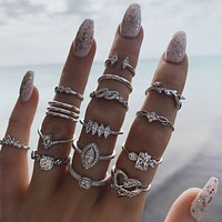 15 Piece Halo Pave Ring Set With Austrian Crystals 18K White Gold Plated Ring in 18K White Gold Plated