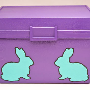 Sale 35% off - Bunny card holder - Upcycle