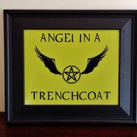 Supernatural Angel In A Trench Coat Poster. Fandom Poster. Fandom Print. Typography Print.