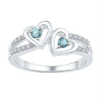Sterling Silver Women's Round Lab-Created Aquamarine Diamond Heart Ring 1-5 Cttw - FREE Shipping (US/CAN)