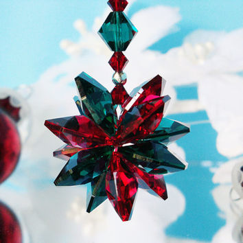 Swarovski Crystal Christmas Ornament Red and Green Crystal Starburst Christmas Holiday Ornament Car Charm