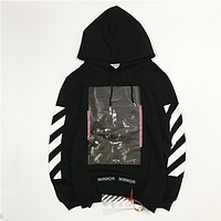 OFF-WHITETROND LIFE Religious Printing Arrow Hoodie Sweater S-XL
